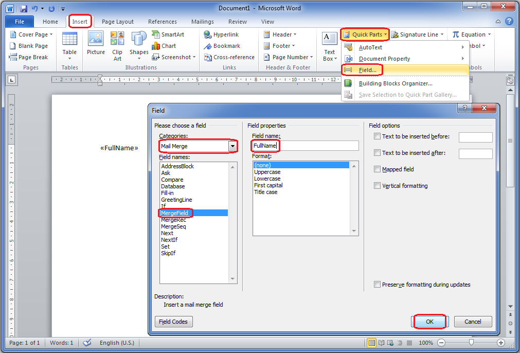 how to put field code in word from excel address